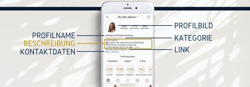 Die perfekte Instagram Bio - Details des Profils sind Profilbild, Profilname, Kategorie, Beschreibung, Link, Kontaktdaten